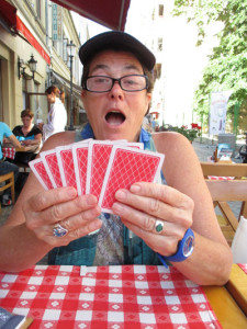 Photo of Diane Dunn playing cribbage